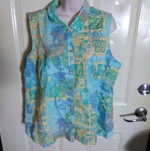 Brisas Plus Aztec Print Sleeveless Top